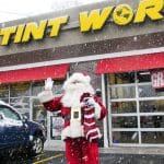Santa Claus in front of Tint World